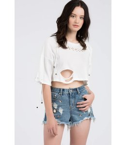 Knit Lace Up Top Ivory