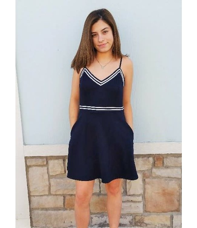 Trim Dress Navy/White