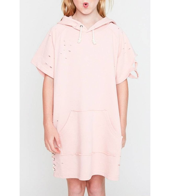 Distressed French Terry Dress W/ Hood Pink