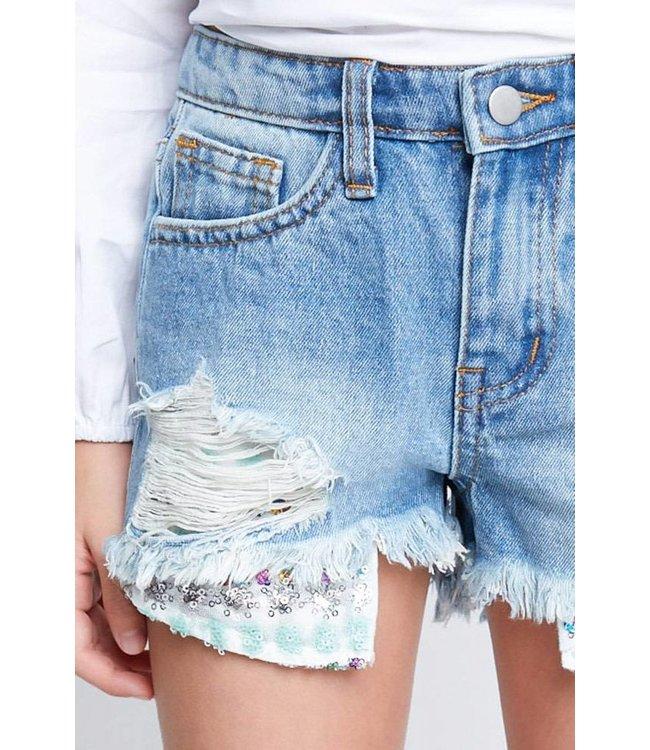 Distressed Denim Shorts W/ Sequin Detail Medium Wash