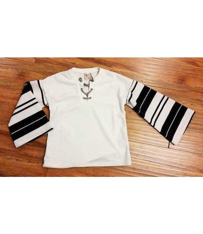 Long Bell Sleeve Stripe Top White/Navy