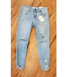 Cello Jean Mid Rise Distress Crop Skinny Denim Light Wash