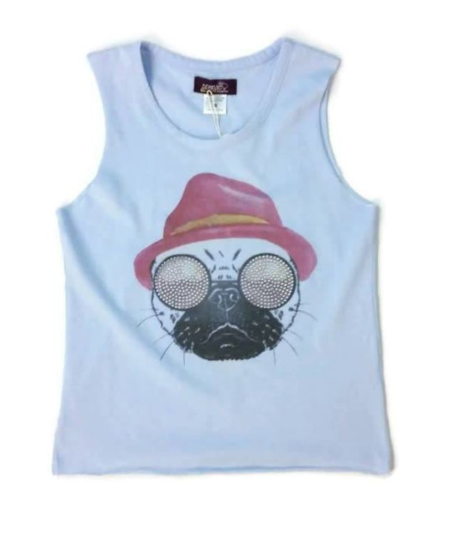 Muscle Tee Pug Light Blue/Multi