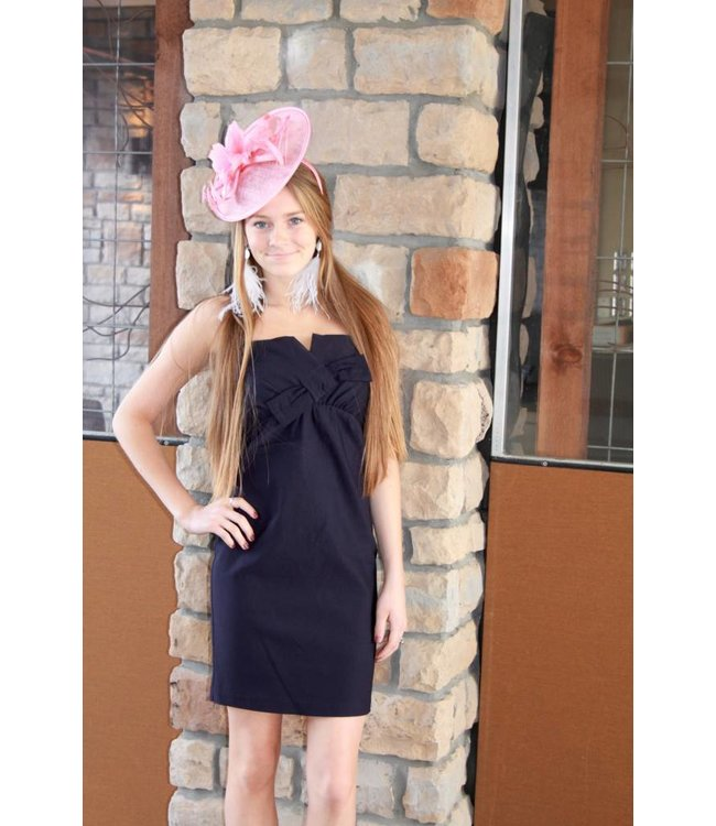 Bow Front Cocktail Tube Dress Navy