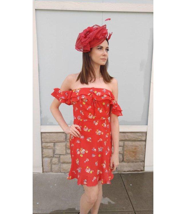 SugarLips SL Floral Polka Dot Dress Red