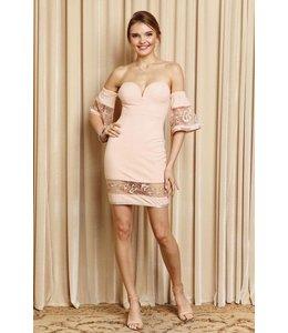 Mini Dress W/ Lace Detail Blush
