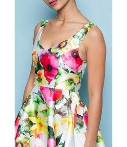 5th Culture A-Line Floral Print Dress White/Multi