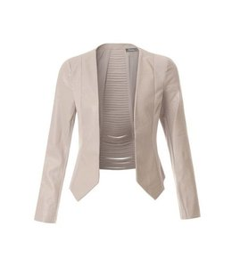 2Sable Faux Suede Cropped Open Blazer Beige