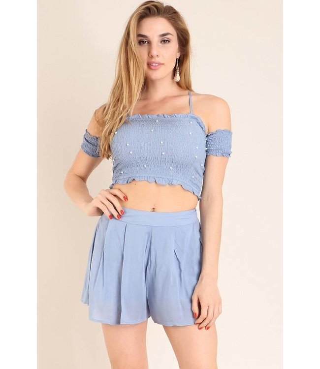 Bandeau Top & Smock Short Set Light Blue
