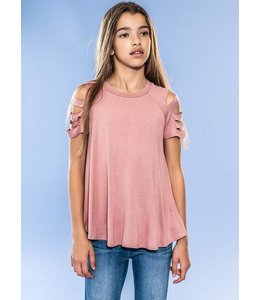 Cut Out Sleeve Top Blush