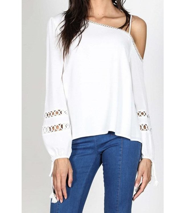 AGP Apparel One Sided Shoulder Top W/ Crochet Detail Off White
