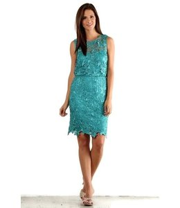 Fanny Fashion Floral Pattern Tea Lenth Dress Teal