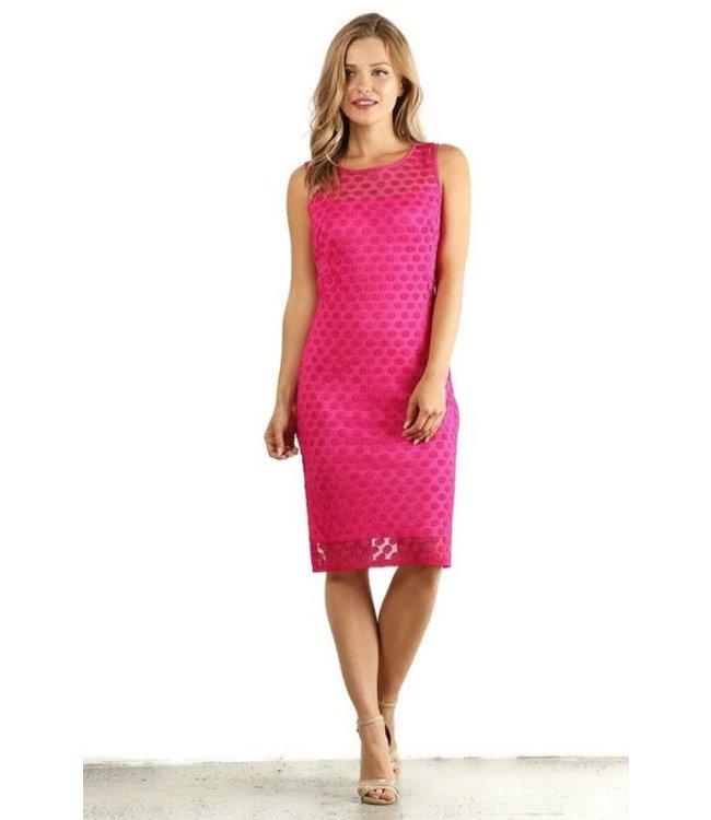 Fanny Fashion Sheer Tea Length Dress Pink