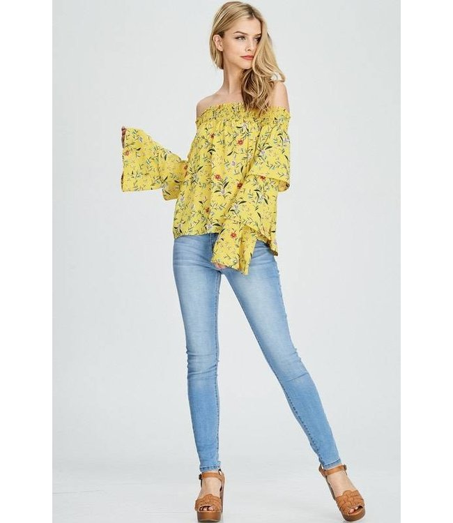 Kayla's Armoire L/S Off Shoulder Floral Top Yellow/Multi
