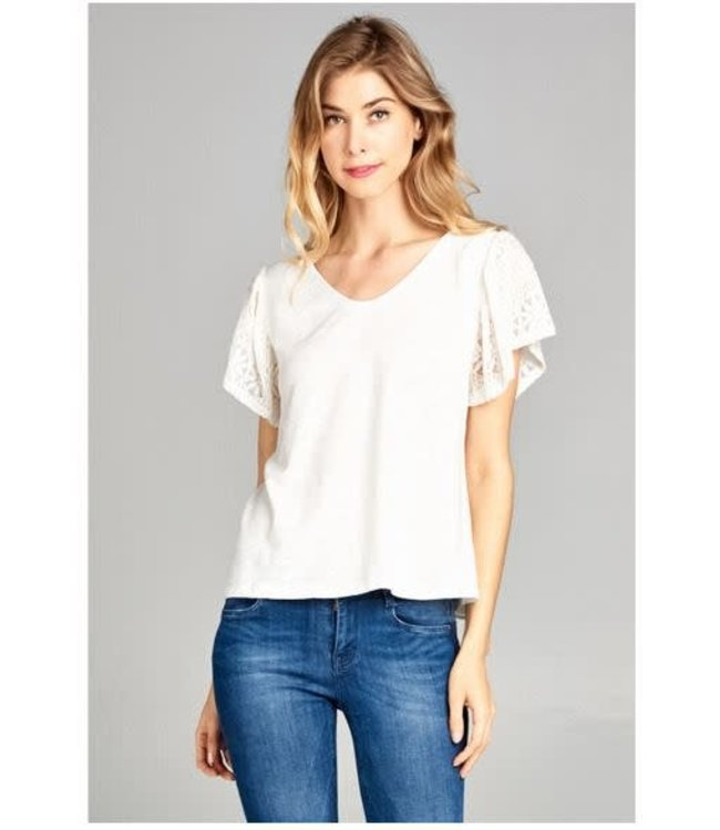 PC Lace Sleeve Top White