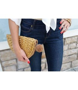 Two's Company TC Straw Clutch W/ Pom Pom Zipper