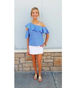 One Shoulder Striped Top Blue/White