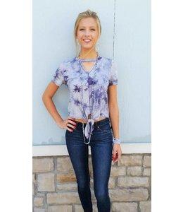 PC Gigi Collar Front Tie Shirt Purple/Multi