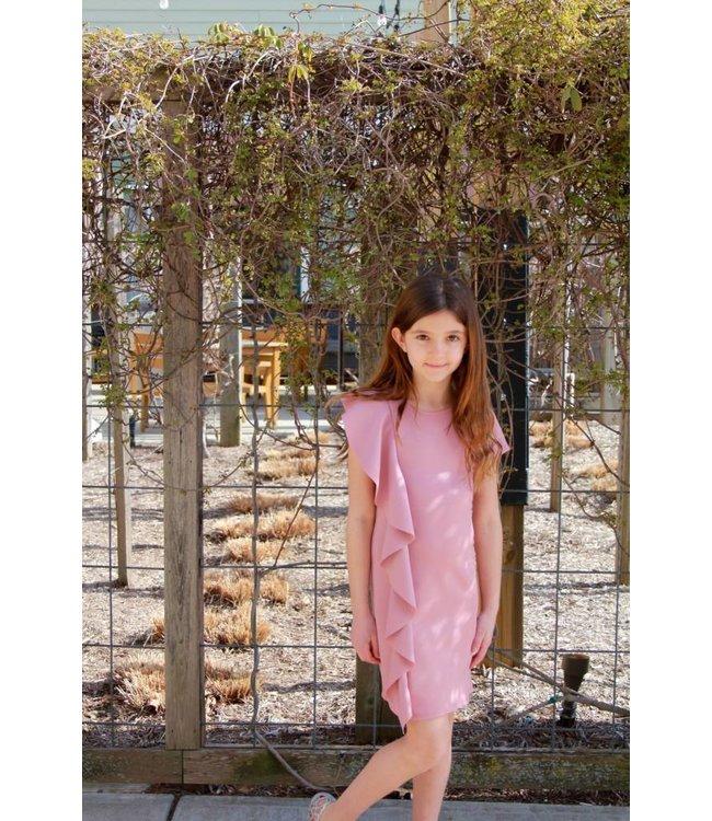 Ruffle Front Dress Blush