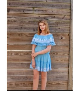 Vintage Havana Women Vintage Havana Embroidered Tassel Ruffle Mini Dress Light Blue