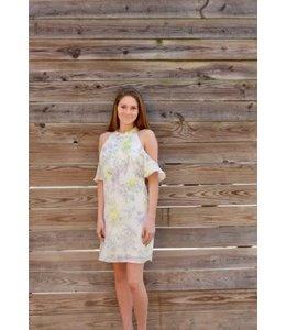 PC Pattern Cold Shoulder Dress Ivory/Multi