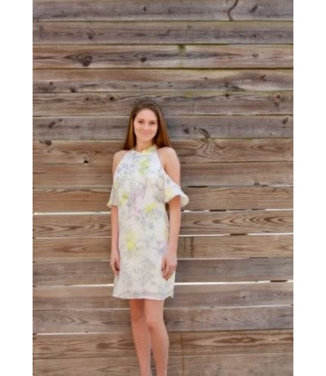PC Pattern Cold Shoulder Dress Ivory/Multi