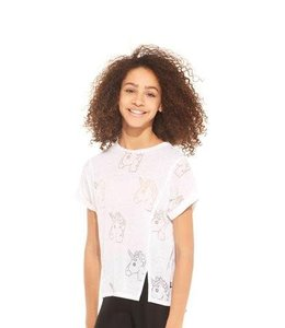 Terez Unicorn Emoji Burnout Tee White
