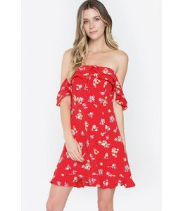 SugarLips SL Floral Polka Dot Dress Red