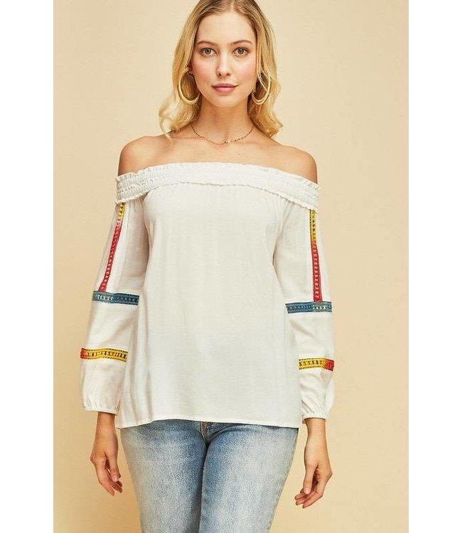 Off Shoulder Top Off White/Multi