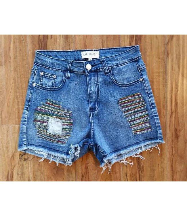 Detailed Denim Shorts Medium Wash/Multi