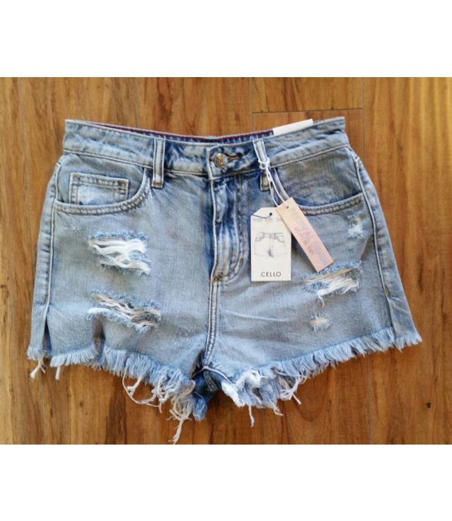 High Rise Destroy Shorts with Side Slit Denim