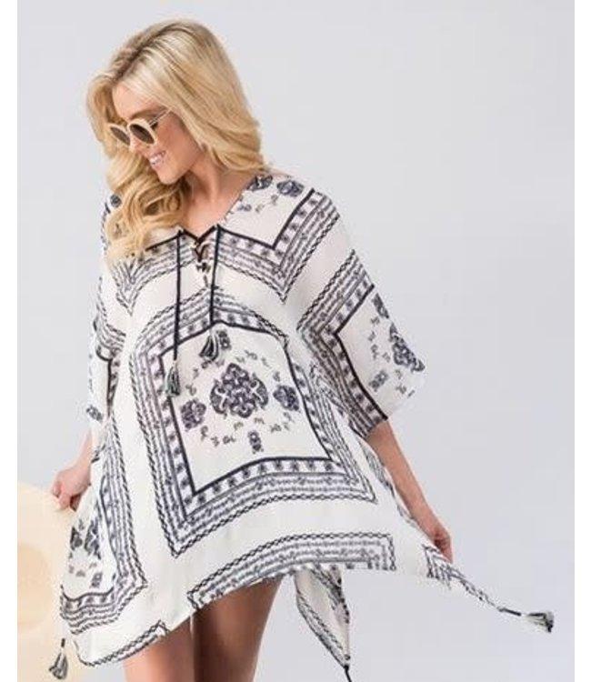 trendnotes/fashionigo Tassel Lace Up Poncho Cover Up Navy/White