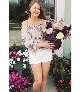 Off Shoulder Floral Print Blouse Blush/Multi