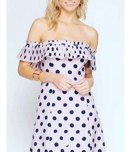 Polka Dot Dress Lavender/Navy