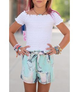 Printed Shorts Tie Front Multi