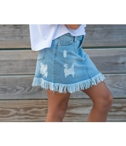 Tractr Tractr Distressed Fringe Jean Skirt