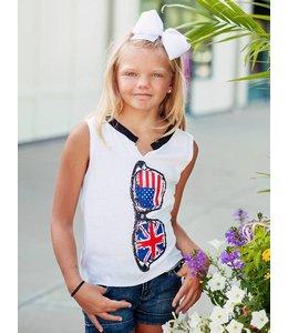 So Nikki Flag Sunglass Tank White/Multi