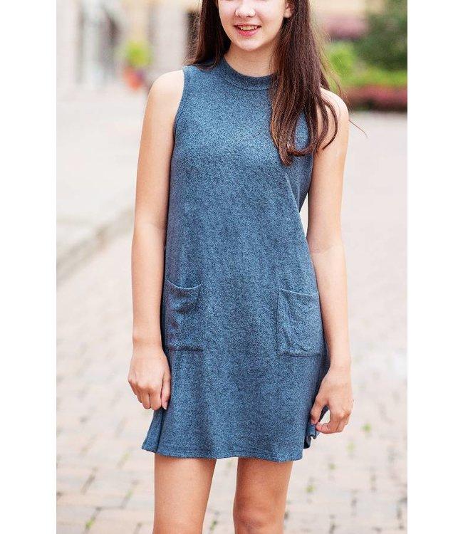 Mock Neck Dress Blue