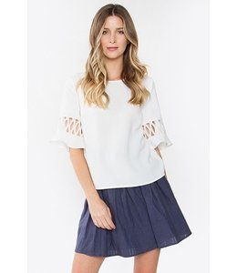 SugarLips Blouse W/ Cutout Sleeve Off White