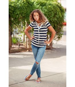 Promesa Lace Up Stripe Tee Navy/Cream