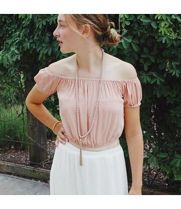 PC Cropped Off Shoulder Top Blush