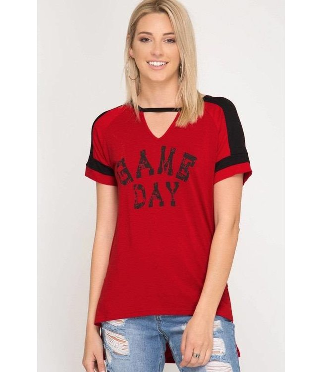 She & Sky Game Day Graphic Top Red/Black