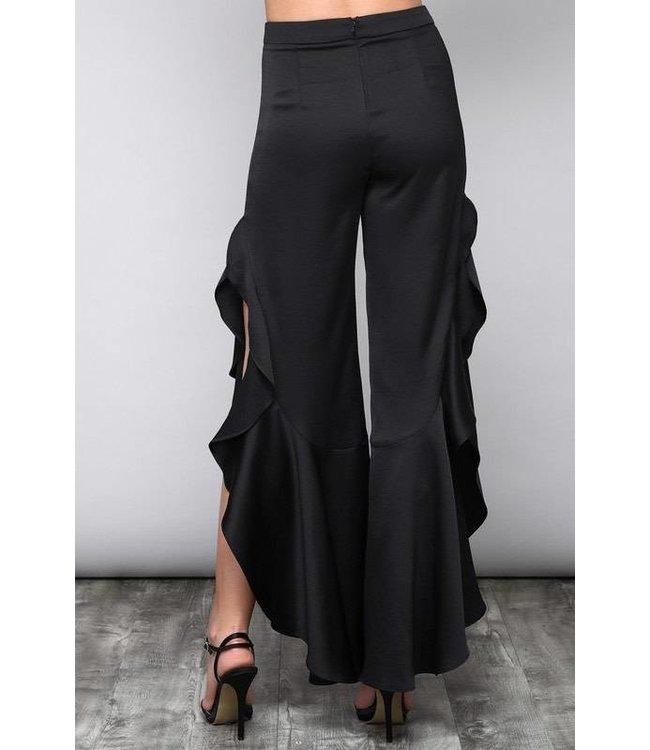 A Beauty By BMB Ruffle Flared Pants W/ Side Split Black