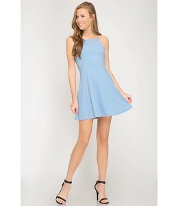 American Chic Flare Lace Up Dress Ice Blue