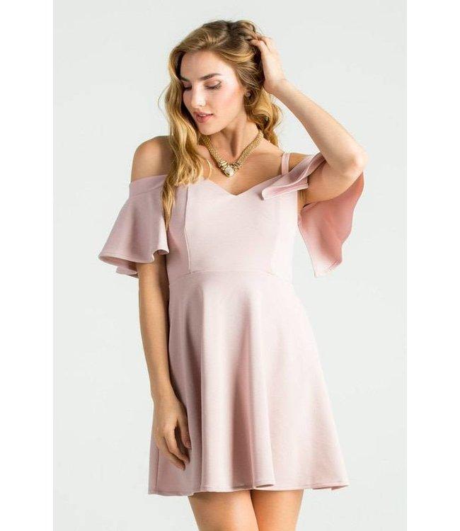 La Scala Cold Shoulder Fit & Flare Dress Blush