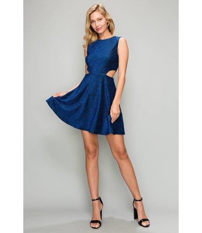 Cutout Mini Dress Blue