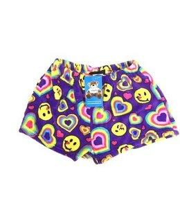 Confetti & Friends CF Fuzzy Emoji Hearts Short Purple/Multi