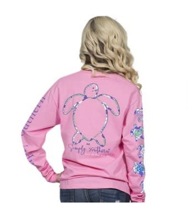 Simply Southern Simply Southern L/S Saved Logo Shirt Flamingo