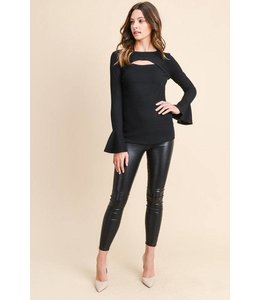 L/S Cut Out Flare Sleeve Top Black