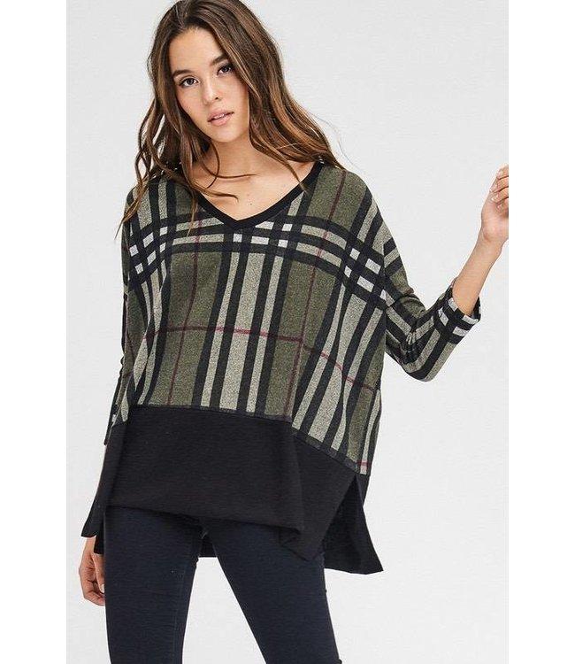 L/S Plaid V-Neck Shirt Olive/Multi